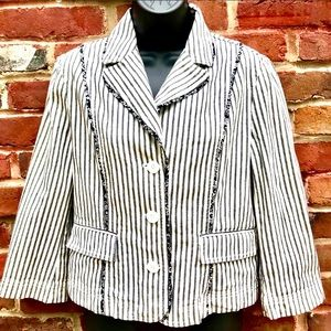 🦋ANN TAYLOR LOFT Ecru Stripe Button Cotton Blazer
